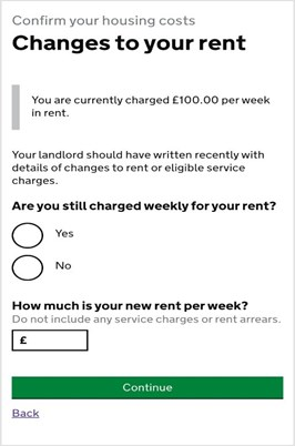 screenshot with questions 'are you still charged weekly for rent' and 'How much is your new rent per week?