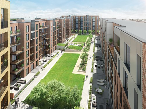 Computer generated image of Kilburn Quarter and its courtyard