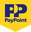 PayPoint logo. Blue writing on a yellow background